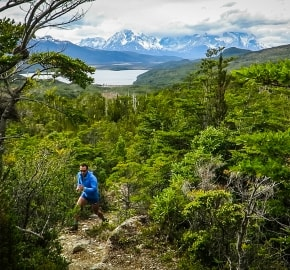Ultra Trail Running in Ultima Esperanza, Patagonia, Chile; Ultra Fiord Route Mountain Running with Fjord Backdrop