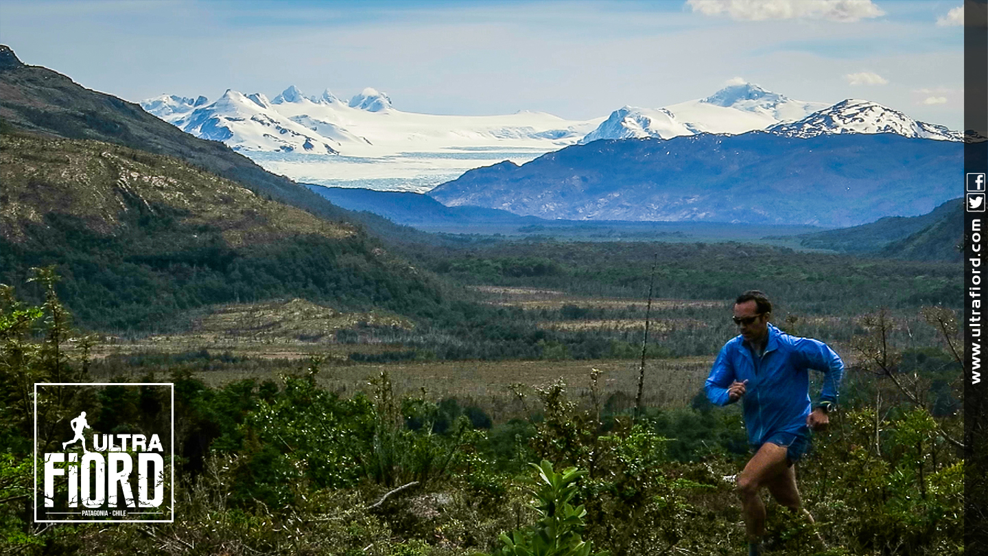 Ultra Trail Running in Ultima Esperanza, Patagonia, Chile; Ultra Fiord Route Mountain Backdrop