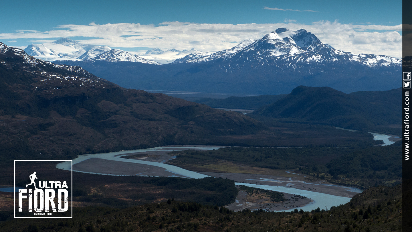 Ultra Trail Running in Ultima Esperanza, Patagonia, Chile; Ultra Fiord Route Fjord Pasassage with Mountain Backdrop