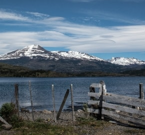Ultra Trail Running in Ultima Esperanza, Patagonia, Chile; Ultra Fiord Route Mountain Range with Fjord