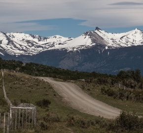 Ultra Trail Running in Ultima Esperanza, Patagonia, Chile; Ultra Fiord Route Mountain Range with Road